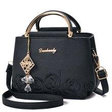 المرأة حقيبة المرأة حقيبة يد جلدية حقيبة كتف حقيبة يد كروس المرأة زهرة مطرزة قلادة المسامير بوسطن السيدات الموضة