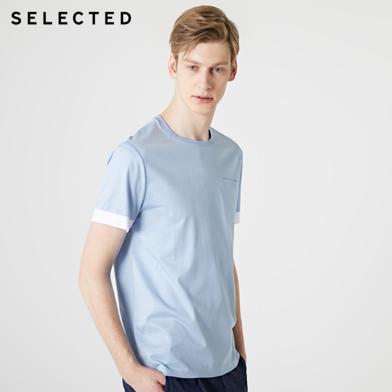 SELECTED Men's Summer 100% Cotton Round Neckline Short-sleeved T-shirt S|419201589