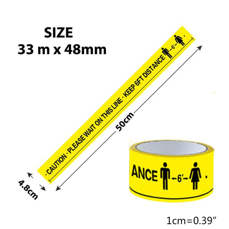 1Roll Please Wait On This Line Keep 6FT Distance Floor Marking Tape Yellow