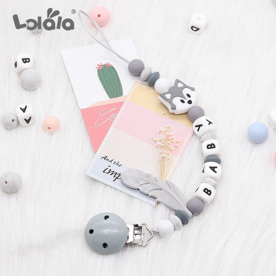 Clips de sucette en Silicone coloré   Lettre personnalisée chaîne Chupetero amusante pour alimentation infantile, jouet à mâcher sans BPA