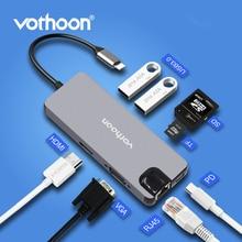 Vothoon USB نوع C محور إلى HDMI USB3.0 RJ45 SD محوّل قارئ البطاقات USB الخائن ل كمبيوتر صغير هوائي ماك بوك برو 8 in1 USB ميناء نوع C محور