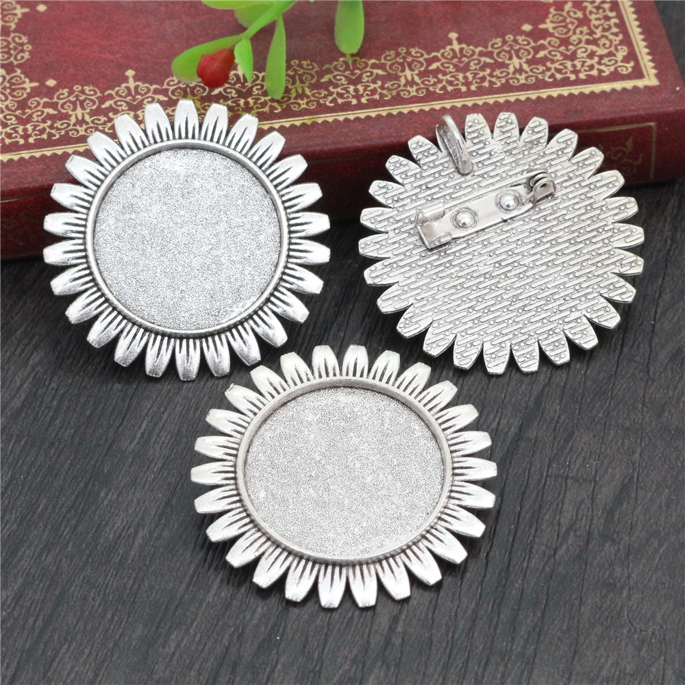 New Fashion  2pcs 25mm Inner Size Antique Silver Plated Brooch Cameo Cabochon Base Setting Charm Pendant (A5-35)