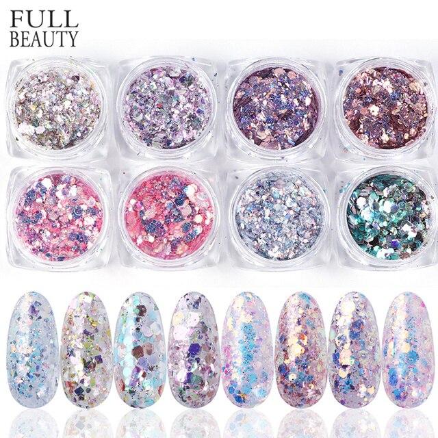 1 takım holografik tırnak Glitter seti toz Nail Art Pigment DIY pul Nail Art süslemeleri toz jel manikür Pigment CH1506 08