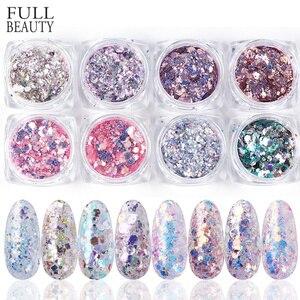 Image 1 - 1Set Holographic Nail Glitter Set Powder Nail Art Pigment DIY Flake Nail Art Decorations Dust Gel Manicure Pigment CH1506 08