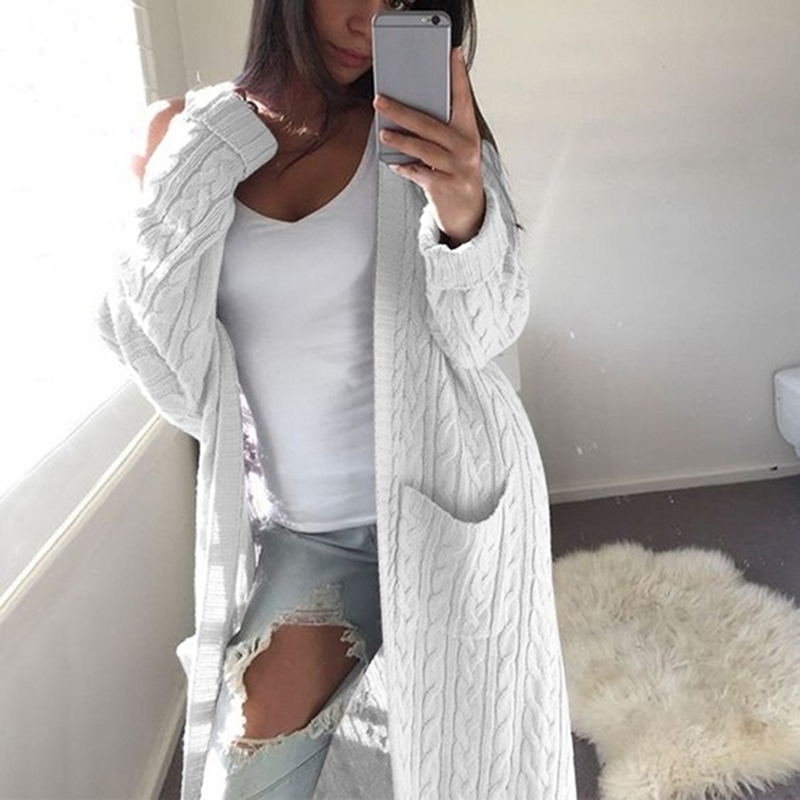 Womens Jumper Pockets Sweater Ladies Cardigan Coat Women Warm Sweater Thick Knitted Female Sweater Winter Clothes Women 2019