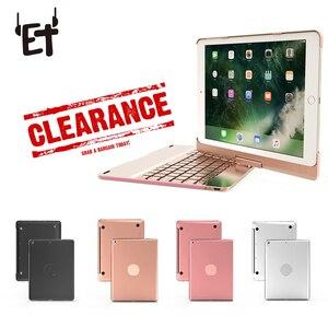 Чехол с Bluetooth клавиатурой с поворотом на 360 градусов для iPad, 9,7 дюймов, цветная подсветка, Беспроводная Bluetooth клавиатура, распродажа