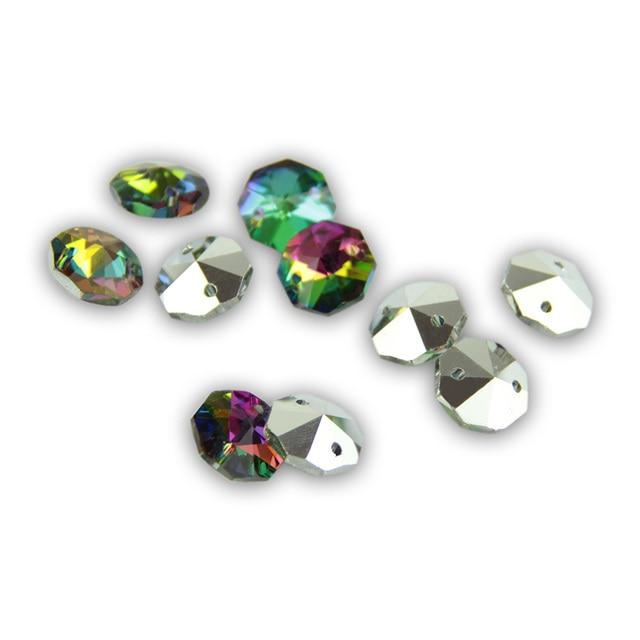 Perles octogonales en cristal de verre arc-en-ciel perles octogonales 14MM avec pendentif cristal prisme pendentif décoration en cristal
