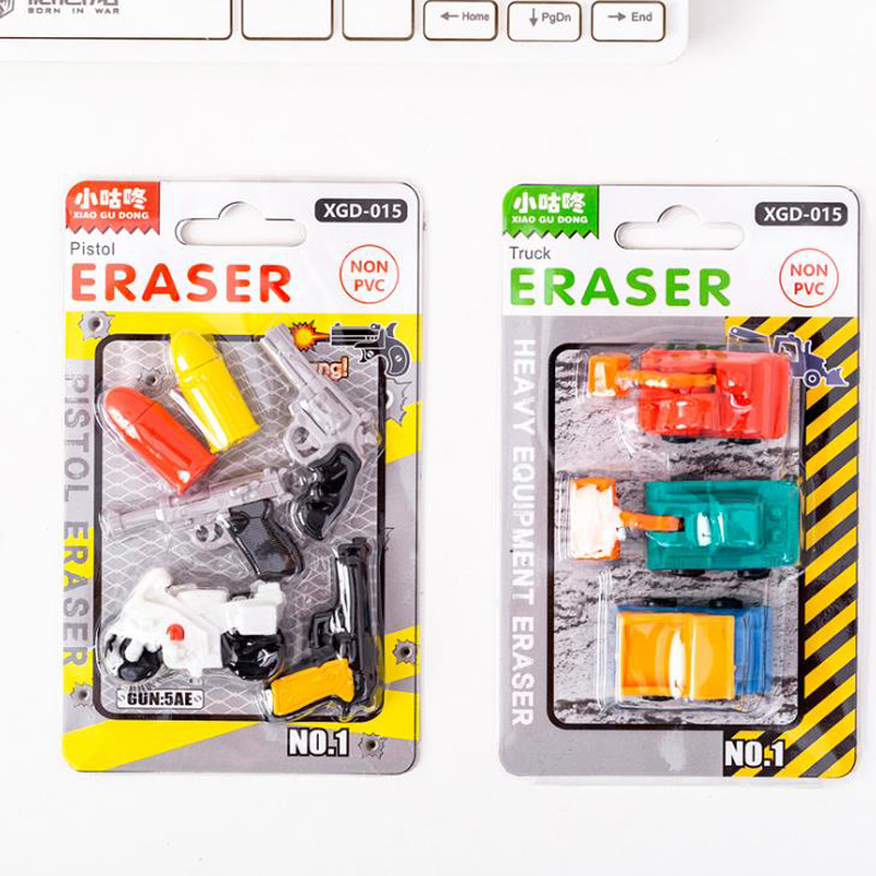1 Pack Cartoon Military Engineering Vehicle Gun Motorcycle Shape Rubber Pencil Erasers Stationery School Papelaria Kids Gifts
