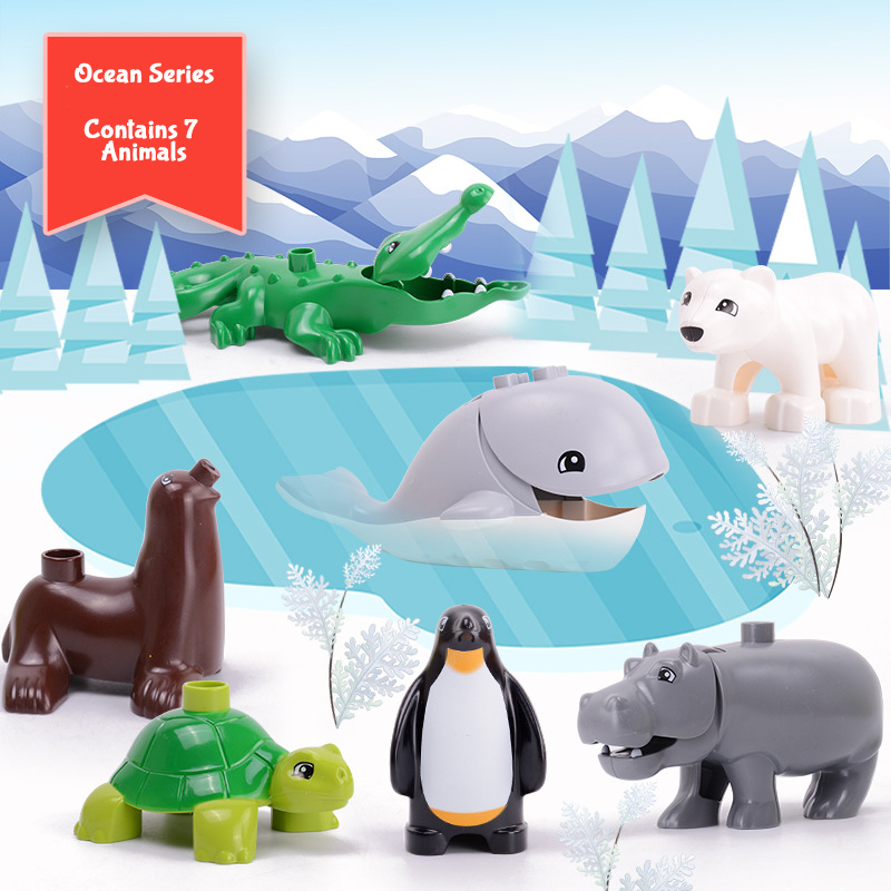 Animal Duploe Series Model Figures Big Building Blocks Animals Educational Toys For Kids Children Gift Compatible Duploed Kids