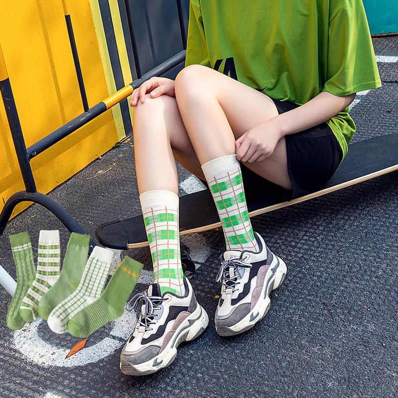 Matcha Checked Striped Socks Women Crew Socks Girl 100 Cotton Casual Thermal Harajuku Style Slipper Socks Green Small Fresh Cozy