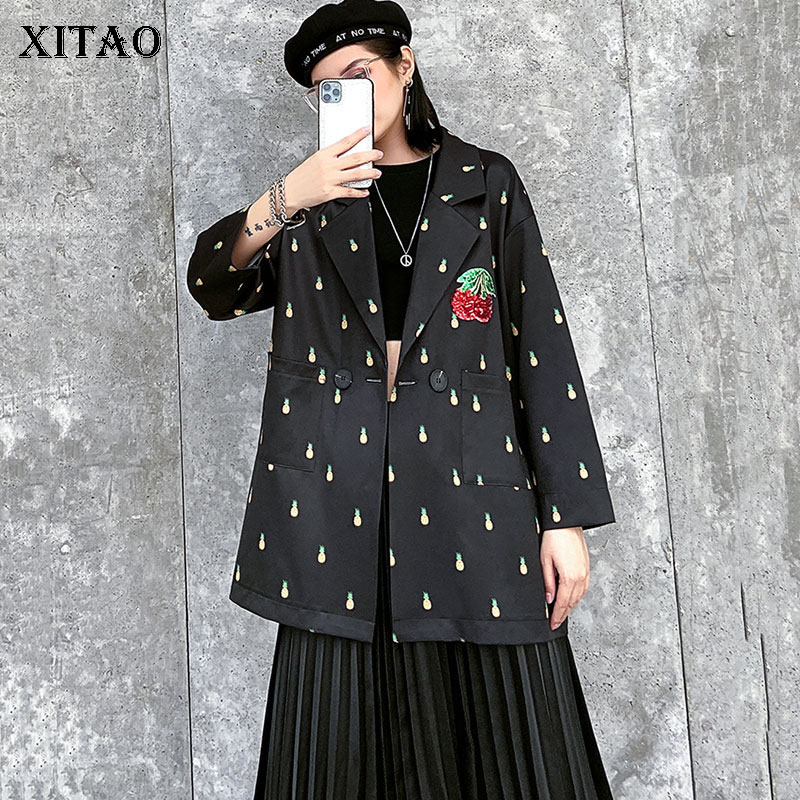 XITAO Vintage Pattern Blazer Fashion New Women Single Breast Pocket Patchwork Minority Casual Loose 2020 Spring Coat DMY3149