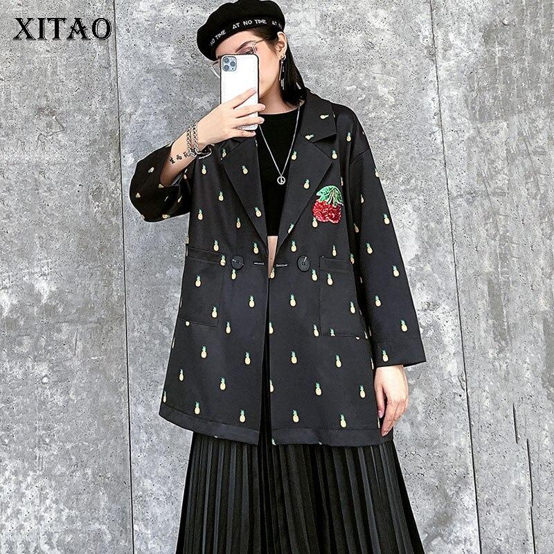 XITAO Vintage Pattern Blazer Fashion New Women Single Breast Pocket Patchwork Minority Casual Loose 2020 Spring Coat DMY3149
