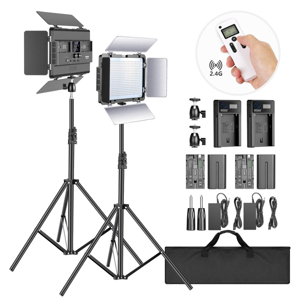 LED Panel//Barndoor//LCD Display Video Lighting Kit for Photo Studio Photography Ball Head//Remote//Battery//Charger//Case Included Neewer 2-Pack 2.4G LED Light with 2M Stand Bi-Color 600 SMD CRI 96