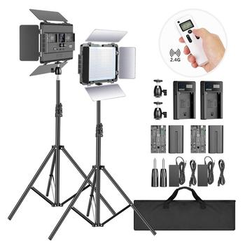 цена на Neewer 2-Pack P600 LED Light with 2M Stand Bi-color 600 SMD CRI 96+ LED Panel/Barndoor/LCD Display Video Lighting Kit for Studio