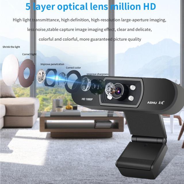 Ashu h800 webcam 1080p câmera web com microfone webcam câmera usb câmera web para pc vídeo chamada conferência