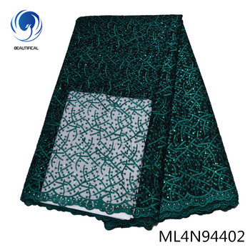 BEAUTIFICAL african lace green french polyester dress party embroidery lace fabric tissu material nigerian laces ML4N944