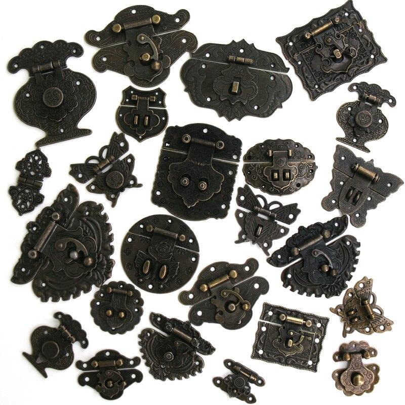 1x Antique Bronze Hasp Vintage Decorative Latch Jewelry Wooden Box Buckle Pad Chest Lock Cabinet Buckle Retro Furniture Hardware