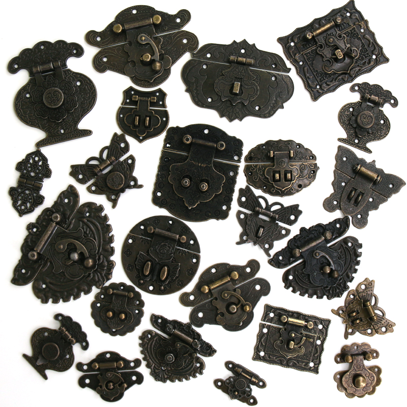 1x Antique Bronze Hasp Vintage Decorative Latch Jewelry Wooden Box Buckle Pad Chest Lock Cabinet Buckle Retro Furniture Hardware