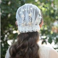 Bridal Lace Short Veil Headwear Handmade Flower Pearl Wedding Head Veils Hairwear For Bride Hair Accessories Dress Jewelry New