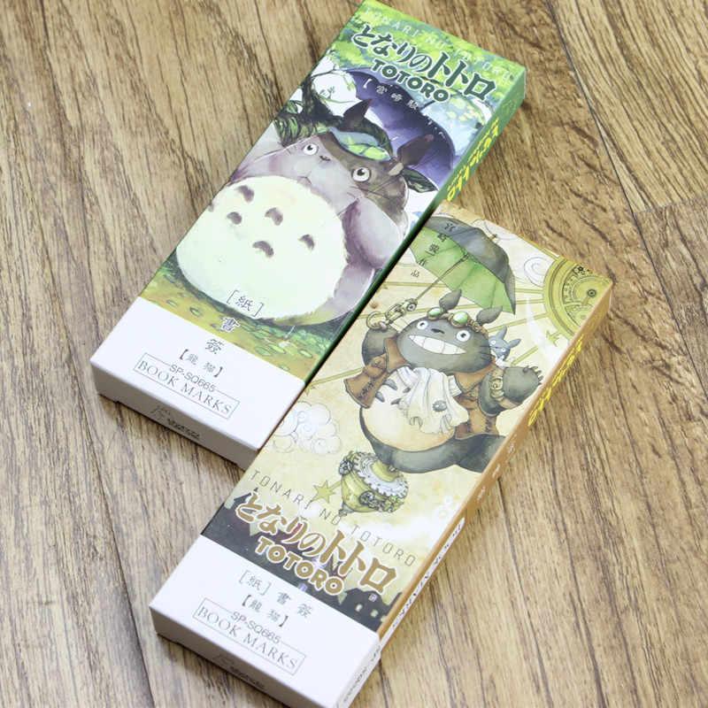 32 pcs Cartoon Totoro סימנייה אנימה נייר דף מחזיק תזכיר כרטיס מכתבים ציוד לבית ספר משרד marcador דה livro EC392