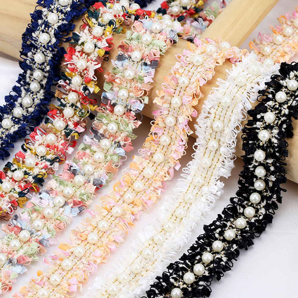 1 Meter Pearl Beaded Lace Trim Tape Lace Ribbon African Lace Fabric Collar Dress Sewing Garment Crafts Headdress Materials