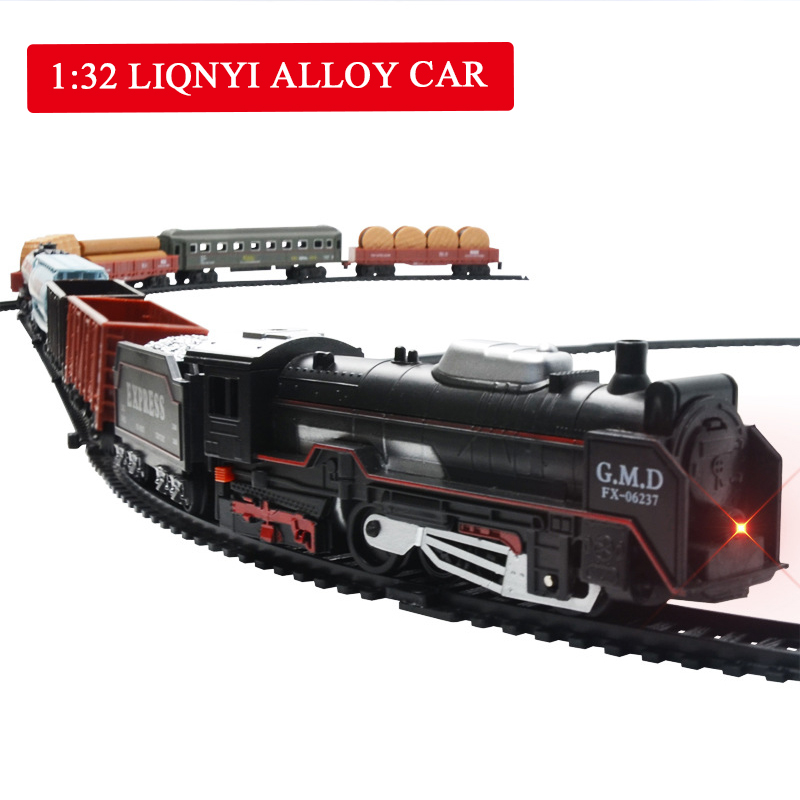 Electric Track Train Toy  Light Sound Children Simulation Classic Small Train Model DIY Assembling Track Model Children Toy