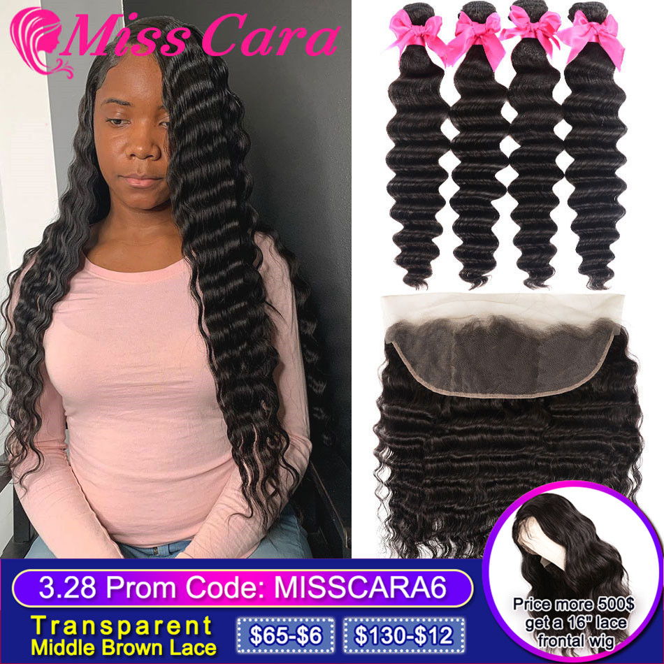 Malaysian Loose Deep Wave Bundles With Frontal Closure  Miss Cara 100% Remy Human Hair 3/4 Bundles With Lace Frontal Closure