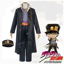 Anime Jojo's Bizarre Adventure Cosplay Costumes Kujo Jotaro Vest+Coat+Pants+Belt+Hat Party Halloween Masquerade Suit New(China)