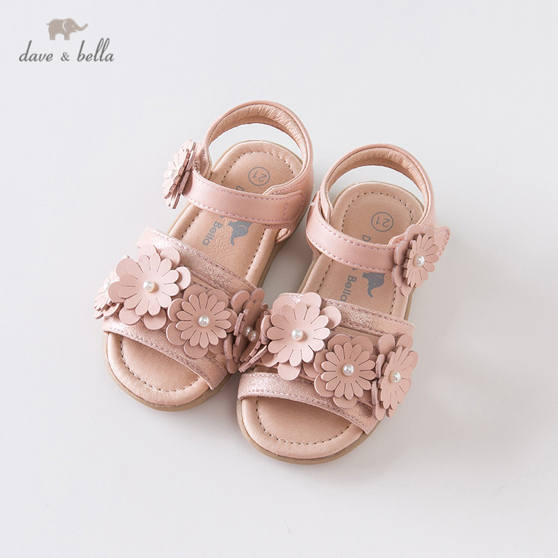 DB13466 Dave Bella Summer Baby Girls Fashion Sandals New Born Infant Shoes Sandals Floral Appliques  Shoes