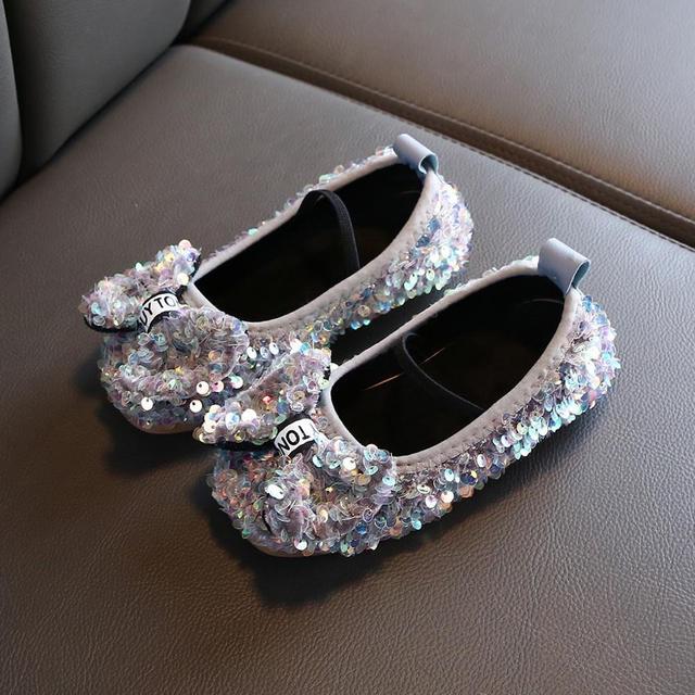 Children Infant Kids Baby Girls Bowknot Soft Bling Sequin Princess Single Shoes