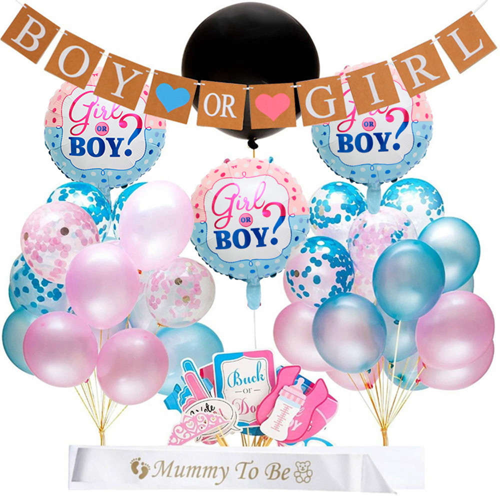 65pcs/lot Gender Reveal Balloon Party Supplies 36 Inch Pink Gender Reveal Boy or Girl Banner Baby Shower Confetti Foil Balloon(China)