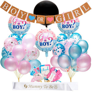 Image 1 - 65pcs/lot Gender Reveal Balloon Party Supplies 36 Inch Pink Gender Reveal Boy or Girl Banner Baby Shower Confetti Foil Balloon