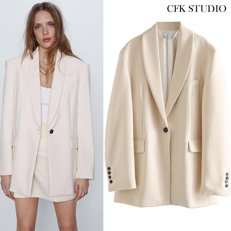 Za Women Blazer 2020 New Spring Single Button Pocket Solid Elegant Coat Femme Summer Office Wear Cream Loose Vintage Jacket