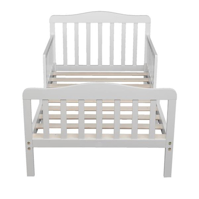 Wooden Baby Toddler Bed Children Bedroom Furniture with Safety Guardrails White 5
