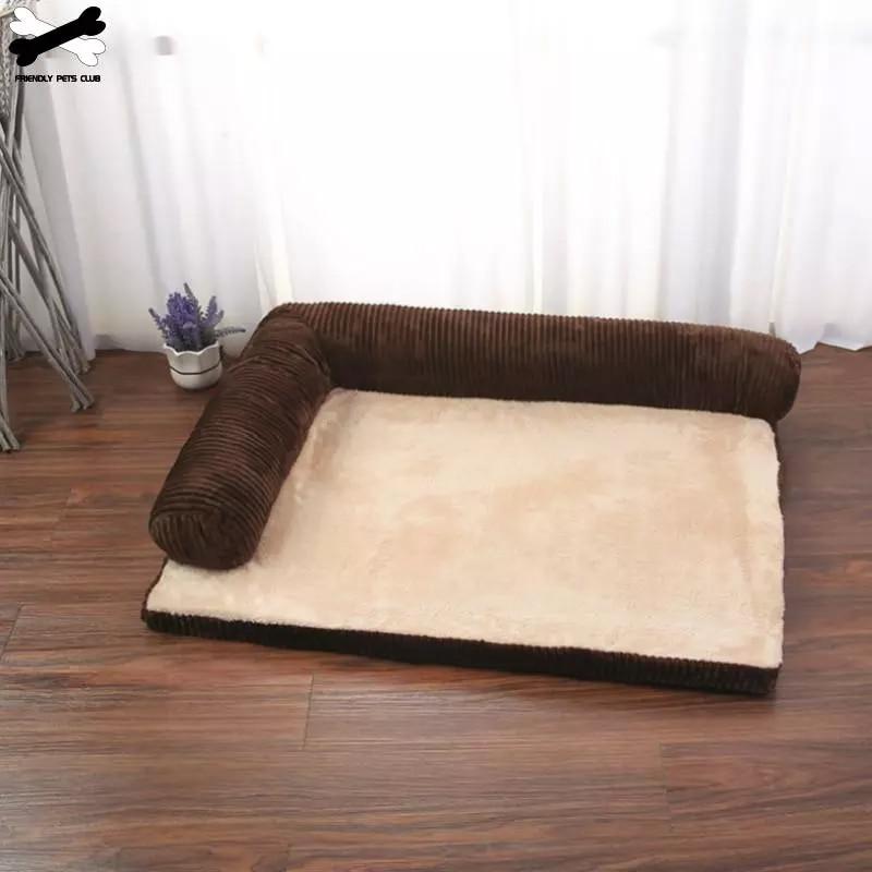 Мягкая L-образная квадратная подушка для домашних питомцев, стирающаяся в машинке кровать со съемным ковриком для кошек и щенков среднего и ...