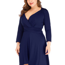 2020 Sexy Elegant For Fat Female Dress Plus Size Navy Blue Party Dress 5XL Deep V Neck Long Sleeve Slim Vintage Pleated Dress