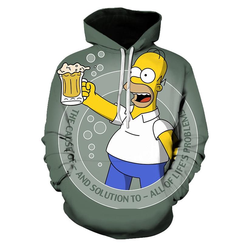 Sport Printed Sportswear Men Sweatshirt Hip-Hop Simpson Male/Female Hoodeds Hoodies Pullover Large Size Hoody Clothing