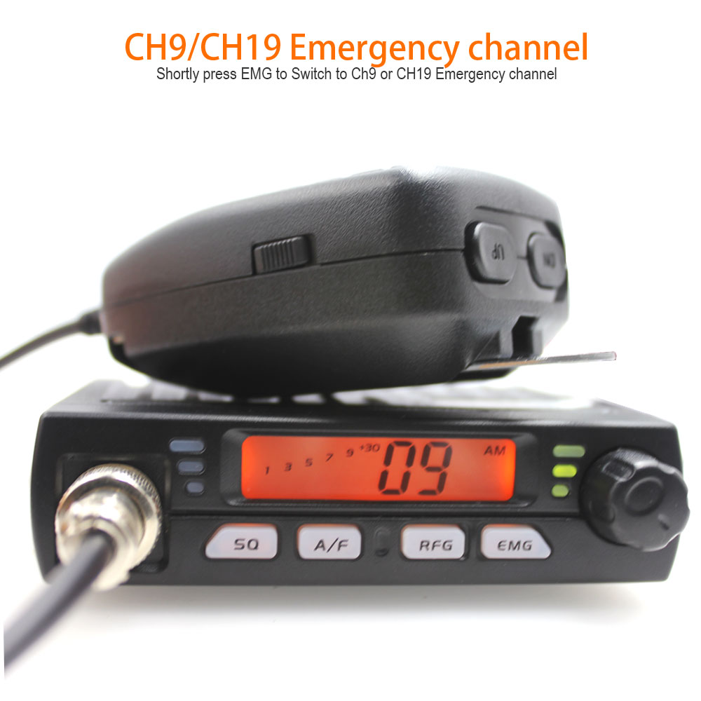 Citizen Band Multi-Norms CM-40M AR-925 CB Mobile Radio 25.615--30.105Mhz AM/FM 13.2V 8Watts Orange LCD Screen Amateur Radio