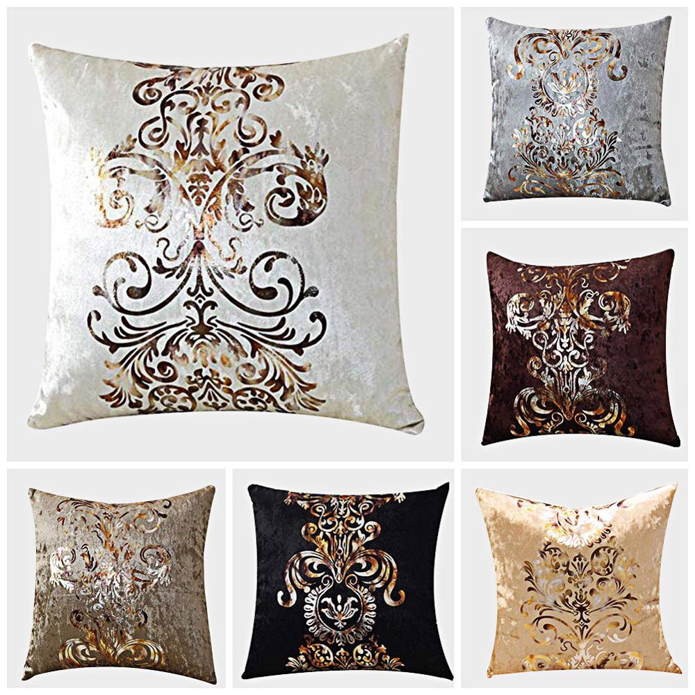 Meijuner Cushion Cover New Personality Bronzing Flocking Pillowcase PlushThrow Pillowcase For Home Party Sofa Festival Decor