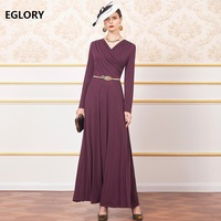 Purple Long Dress 2019 Autumn Party Vestidos Special Occasion Women V Neck Pleated Patchwork Long Sleeve Maxi Dress Big Size 4XL