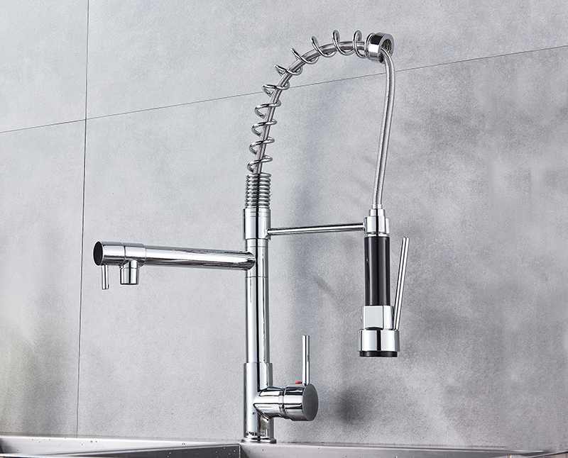 Hf0b50fba11fa407dad9c8f275ddd98b1g Uythner Black Brass Kitchen Faucet Vessel Sink Mixer Tap Spring Dual Swivel Spouts Hot and Cold Water Mixer Tap Bathroom Faucets