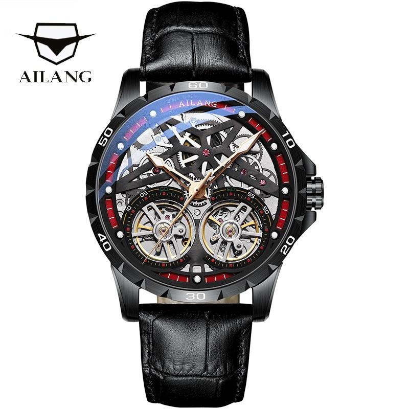 AILANG Original Men's Watch Double tourbillon watch Automatic Hollow-out Machine Watch Men Luminous Waterproof 2020 New design