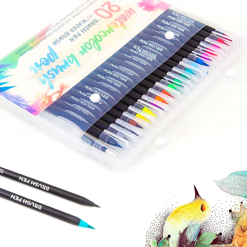 12/20/24/48/72PCS Colors Premium Markers Soft Set Watercolor Paint Brush Pen Effect Best Felt-Tip Pen For Coloring Books Manga