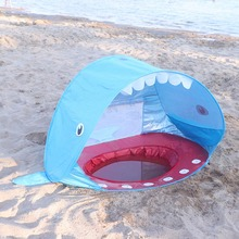 Hot Outdoor Beach Portable Shade Pool Shark Shape Children's Tent Shade Pool  Protection Sun Shelter Tent майка борцовка print bar pool shark