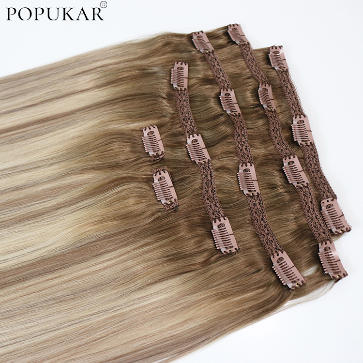 Popukar Ombre Two Tone Straight Clip Ins Real Human Hair Extensions Double Weft Clip On Remy Virgin Hair 100g 6PCS