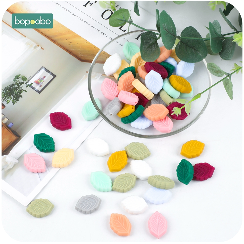 Bopoobo 10pc Silicone Beads BPA Free Cartoon Leaves Teething Leaf Bead DIY Teething Necklace Pacifier Food Grade Baby Teether
