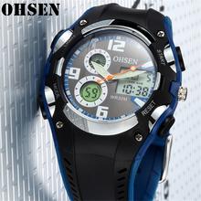 OHSEN mężczyźni Outdoor Sports zegarki stoper moda wielofunkcyjny zegarek kwarcowy wodoodporne cyfrowe zegarki na rękę Relogio Masculino tanie tanio 24cm QUARTZ Podwójny Wyświetlacz Cyfrowy 3Bar Klamra CN (pochodzenie) Z tworzywa sztucznego 17mm Szkło Kwarcowe Zegarki Na Rękę