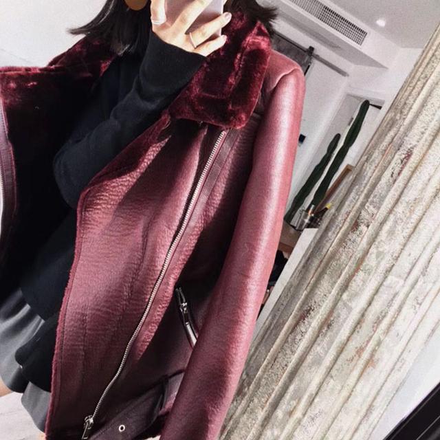 Ailegogo 2019 Winter Coats Women Thick Faux Leather Fur Sheepskin Coat Female Fur Leather Jacket Aviator Jacket Casaco Feminino
