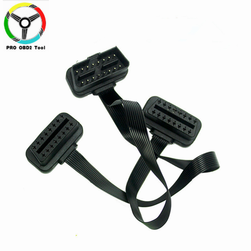 As Noodle OBDII OBD 2 OBD2 16pin ELM327 Male To dual Female Y Splitter Elbow Extension Flat+16 pin Thin Noodle Cable