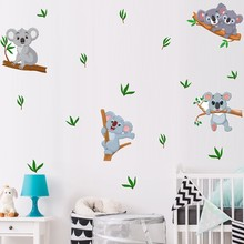 Cartoon Koala Leaves Branches Wall Stickers Cute Animal Art Wall Decal for Kids Rooms Children's Bedroom Living Room Home Decor bedroom wall decor deer wall stickers for kids rooms door stickers muraux home living room house decoration accessories